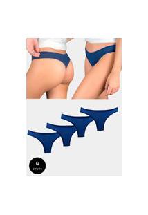 Kit 4 Calcinhas Fio Dental Try Basics Algodão Cotton Básica Lisa Moda Lingerie Azul