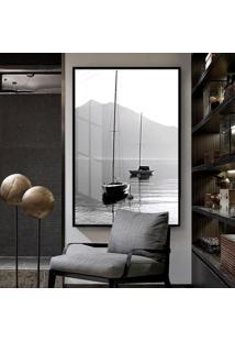 Quadro 150X100Cm Barcos Praia Preto Branco Vidro Cristal E Moldura Preta Decorativo Interiores - Oppen House