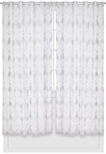Cortina Bella Janela Duplex 3,00X2,30M Oregon Abstrato Branco