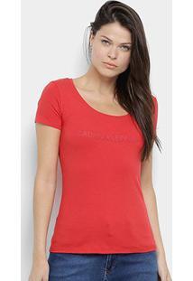 Blusa Calvin Klein Estampada Manga Curta Feminina - Feminino-Vermelho
