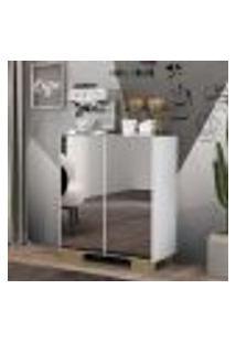 Aparador Cantinho Do Café Com Espelho E Pés Quadrados 2 Portas Multimóveis Branco/Natural