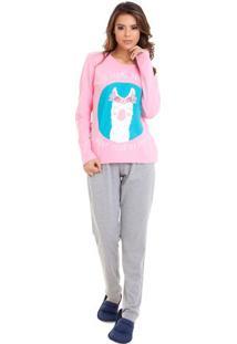 Pijama De Inverno Lhama Feminino Com Algodão Luna Cuore