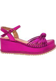 Sandália Anabela Flatform Dom Amazona Números Grandes Pink 485057 - Kanui