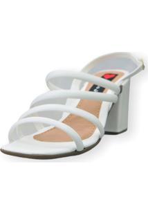 Sandália Salto Bloco Love Shoes Tiras Fashion Branco
