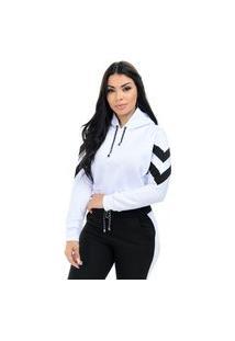 Blusa Moletom Cropped Bicolor Branco