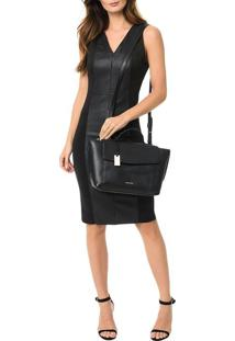 Bolsa Calvin Klein Com Couro Chrissy Top Handle Preto - U