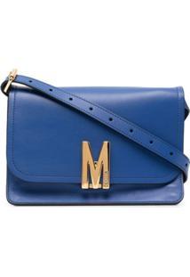 Moschino Bolsa Tiracolo Com Placa M - Azul