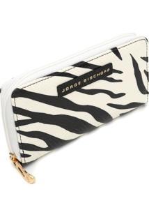 Carteira Couro Jorge Bischoff Zebra Off-White/Preta - Kanui