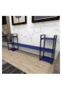 Aparador Industrial Aço Cor Preto 180X30X68Cm (C)X(L)X(A) Cor Mdf Azul Modelo Ind26Azapr