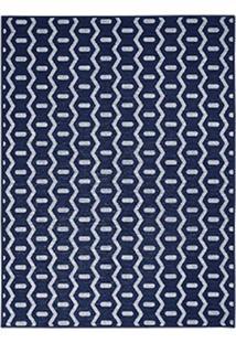 Tapete Dupla Face- Azul Marinho & Branco- 250X200Cm