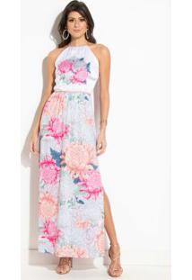 b3bf858a2f ... Vestido Longo Quintess Floral Com Fenda Costas