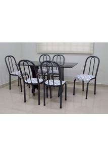 Conjunto Cozinha Verona 1,40 Com Granito C/6 Cadeiras Roma Baixa Açomix
