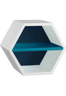 Nicho Hexagonal Favo Ii Com Prateleira Branco Com Azul Noite E Azul