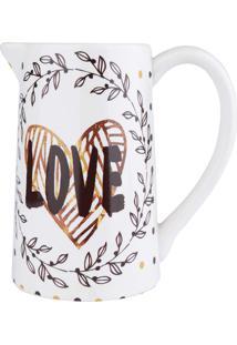 Vaso Cerâmica Jar Love And Flowers Fd Branco 19X12,5X19,5Cm