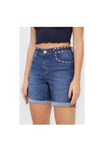 Bermuda Jeans Malwee Reta Tachas Azul