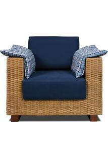 Poltrona Salinas Assento Cor Azul Marinho Com Base Madeira Revestido Em Junco - 44850 - Sun House