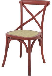 Cadeira Katrina Madeira Assento Em Rattan Cor Vermelho - 55475 - Sun House