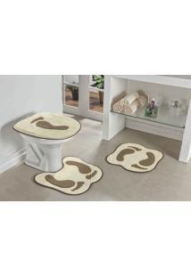 Jogo De Banheiro Premium Formato Pegada 03 Peças Palha Guga Tapetes