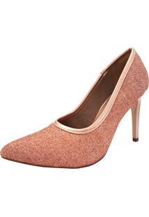 Sapato Hellen Suzan Linha Festa Bico Fino Gliter Champagne
