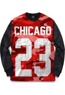 Blusa Bsc Chicago 23 Red Camo Full Print - Masculino-Preto