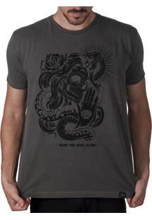 Camiseta Artseries Caveira Mexicana Keep The Soul Alive Cinza