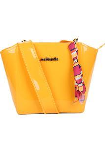 Bolsa Petite Jolie Tote Verniz Alça Transversal Shape Feminina - Feminino-Amarelo