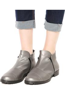 Bota Dafiti Shoes Recortes Zíper Prata Velha