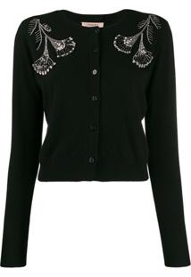 Twin-Set Cardigan Com Paetês - Preto