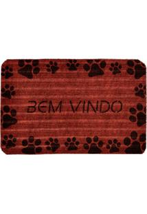 Capacho Carpet Bem Vindo Com Patinhas Pretas Único Love Decor