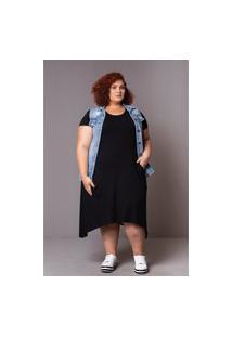 Vestido Comfy Plus Size Domenica Solazzo Vestido Preto