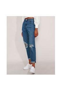 Calça Mom Jeans Cintura Super Alta Destroyed Azul Escuro
