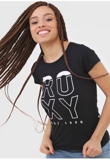 Camiseta Roxy Lettering Preta - Preto - Feminino - Dafiti