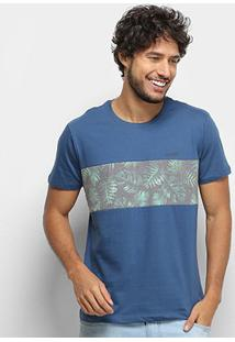 Camiseta Gajang Faixa Camuflada Masculina - Masculino-Azul