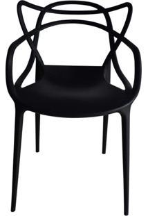 Cadeira Com Encosto E Braços Aviv Siena Móveis Preto