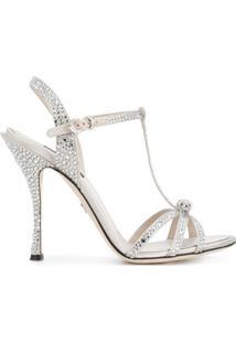 Dolce & Gabbana Sandália Com Aplicações - Metálico