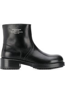 Raf Simons Ankle Boot Com Logo Gravado - Preto