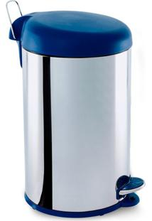 Lixeira Inox 5L Com Pedal Tampa Azul Decorline Brinox