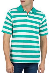 651f55cef0213 Camisaria Colombo. Camisa Polo Masculina Verde Listrada