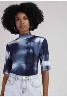 Blusa Feminina Canelada Estampada Tie Dye Manga Curta Gola Alta Azul Marinho