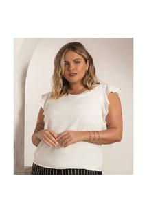 Blusa Plus Size Feminina Chiffon Secret Glam Bege