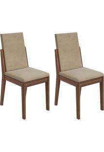 Conjunto De Cadeiras De Jantar 2 Lira Veludo Imbuia E Bege