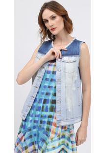 Colete Jeans Desfiado - Azulscalon