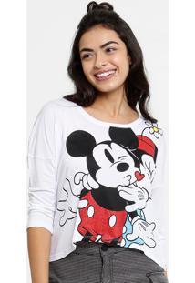 Blusa Feminina Mickey E Minnie Manga 7/8 Disney