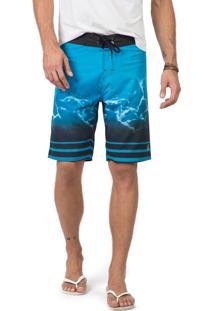 Boardshort Estampado Azul Turquesa