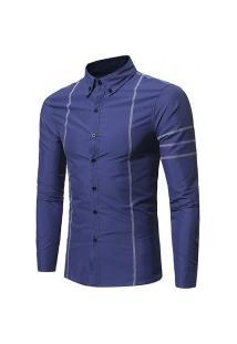 Camisa Masculina Slim Line - Azul Escura