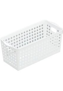Cesta Organizadora Plástica Branca 28X16X11Cm - 12581