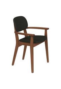 Cadeira Com Braço Tramontina 14061135 London Amêndoa Estofado Preto