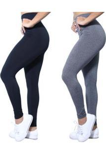 Kit 2 Leggings Plus Size Heide Ribeiro Leg Basic Suplex Barato Feminino - Feminino-Preto+Cinza
