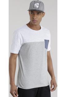 Camiseta Com Bolso Cinza Mescla Claro