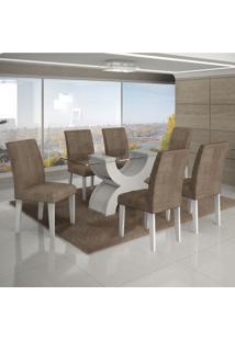 Conjunto Mesa Olimpia New 1,80X0,90M 6 Cadeiras Animale Capuccino - 7337.30.1.4 Leifer